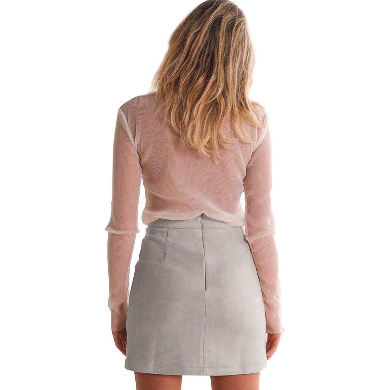 TOOGOO(R) Women's Autumn Fashion Lace Up Leather Suede Pencil Skirt Winter  Casual Cross High Waist Skirt Zipper Split Bodycon Short Skirts(Light Gray  ...