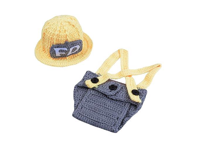 6eec6cc9672 Amazon.com  CX-Queen Newborn Baby Photography Prop Crochet Firefighter Hat  Pants Boots Costume (No.9)  Clothing