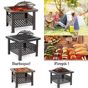 ikayaa jardín al aire libre Fire Pit con parrilla para barbacoa Metal Chimenea Chimenea brasero cuadrado estufa estufa chimenea w/cubierta y póker: ...