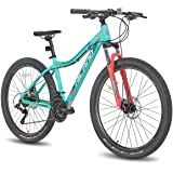 Hiland 26/27.5 Inch Aluminum Mountain Bike for Women 24Speed with Lock-Out Suspension Fork