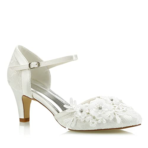 d8555a7fce0 Mrs White 453-4A Bridal Wedding Shoes,Women Pumps Mid Cone Heel Lace Satin  Diamante Floral Wedding Court Shoes,Ivory