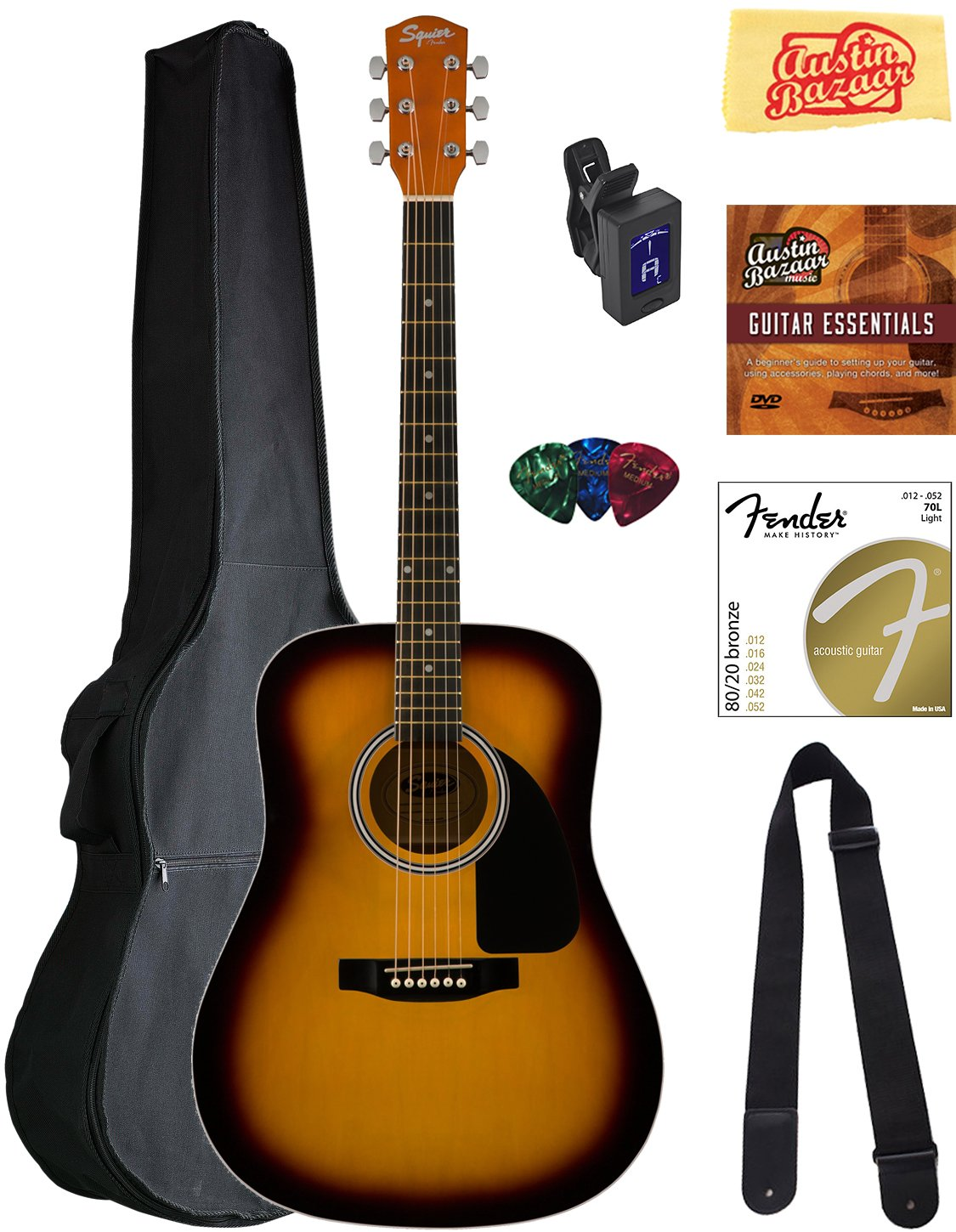 Squier by Fender SA-150 Dreadnought Acoustic Guitar - Sunburst Bundle with Gig Bag, Tuner, Strap, Strings, Picks, Austin Bazaar Instructional DVD, and Polishing Cloth