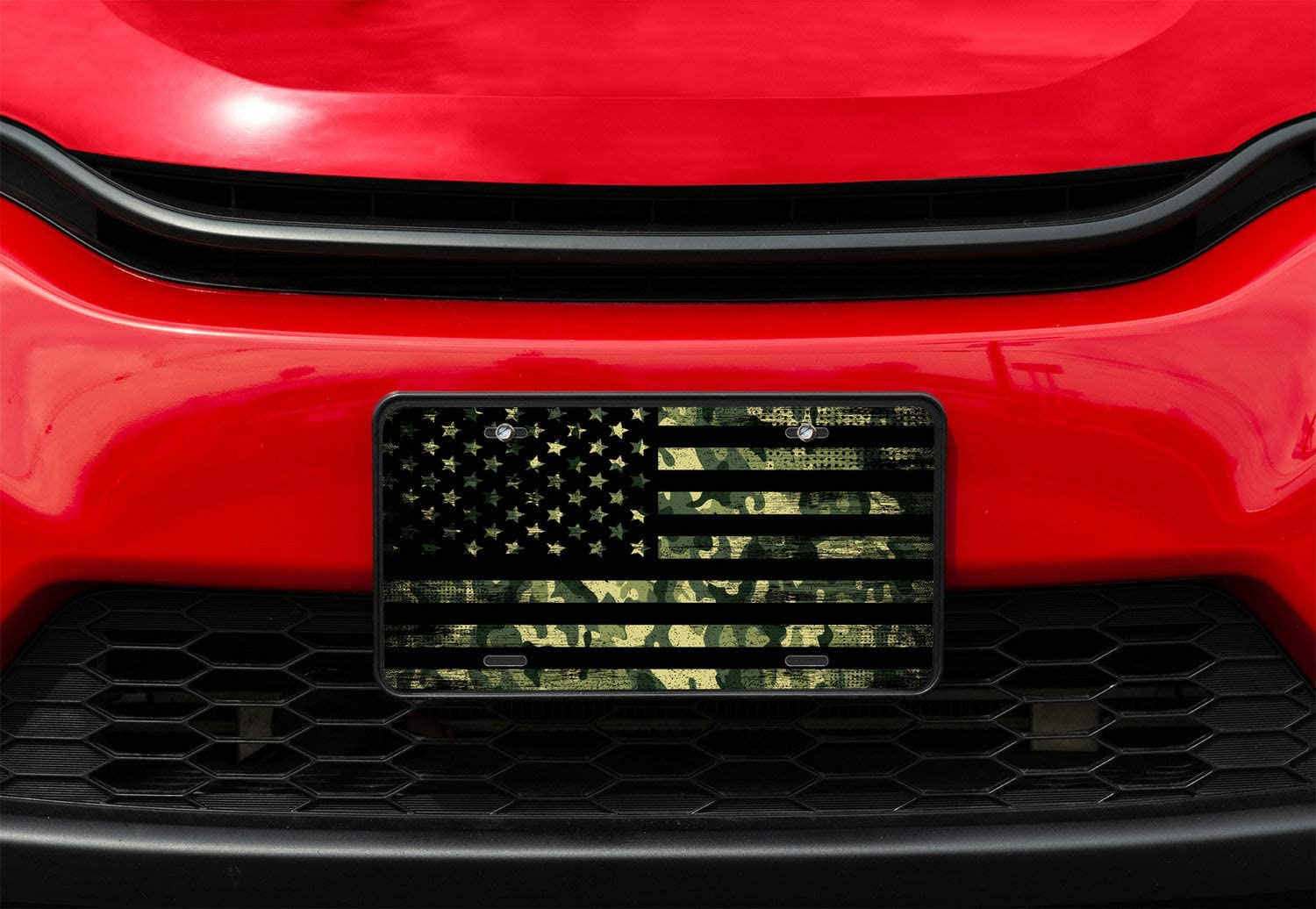 Amcove License Plate American Flag with Camouflage Decorative Car Front License Plate,Vanity Tag,Metal Car Plate,Aluminum Novelty License Plate for Men//Women//Boy//Girls Car,6 X 12 Inch