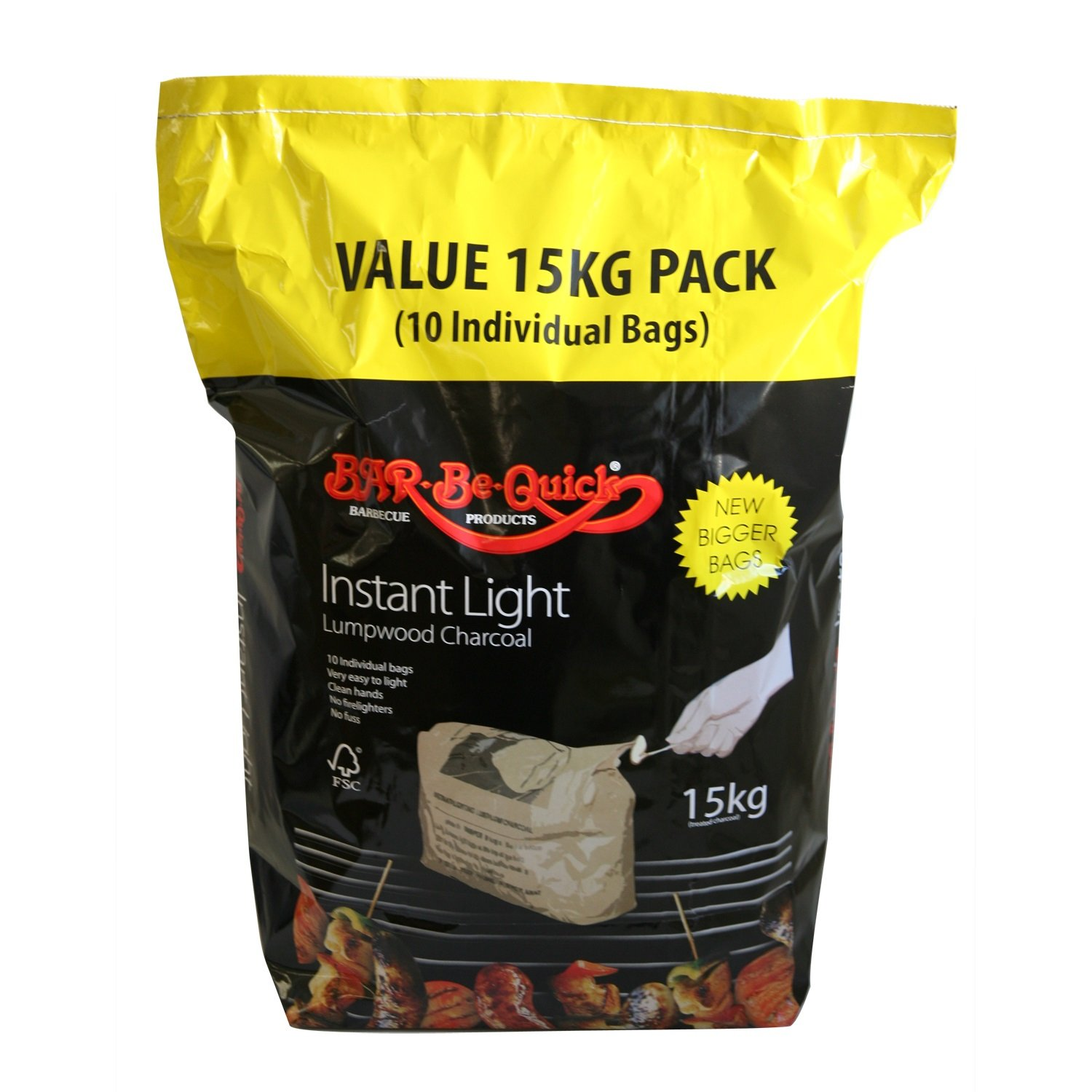 Bar-Be-Quick Instant Lighting Charcoal 15 kg – pulizia rapida e facile da usare Rectella