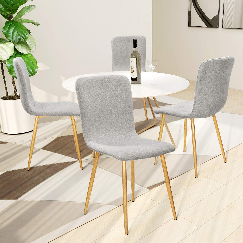 Imitation Ch/êne VADIM Lot de 4 Chaises Salle /à Manger Scandinaves Chaises en Tissu Nuances de Gris Chaises Design Solide Gr/âce /à des Pieds en M/étal