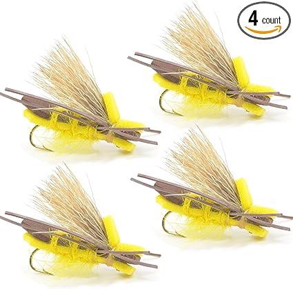 Fly Fishing Trout Flies 6 x Yellow Hopper