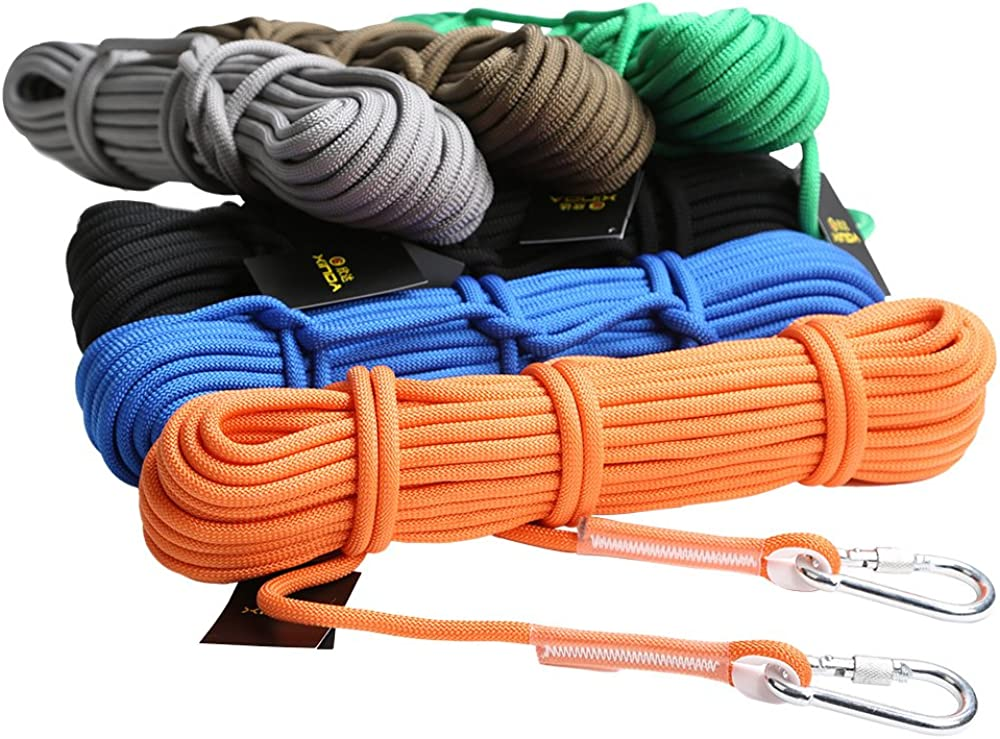 12KN 9.5mm 10m Cuerda De Cable De Rescate De Seguridad Escalada Rappel Honda - Negro, 10 metros