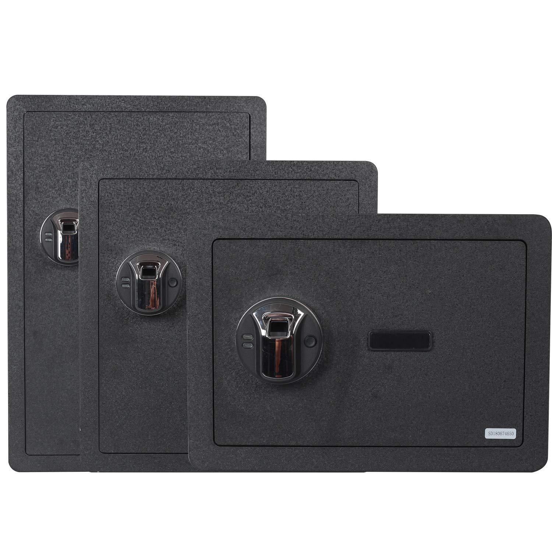 Fingerprint Security Safe Box Waterproof Lock Box Cabinets Gun Pistol Cash Strongbox Solid Steel Safety Jewelry Storage Money Boxes w Deadbolt Lock 2 Emergency Keys 4 Battery Wall-Anchoring