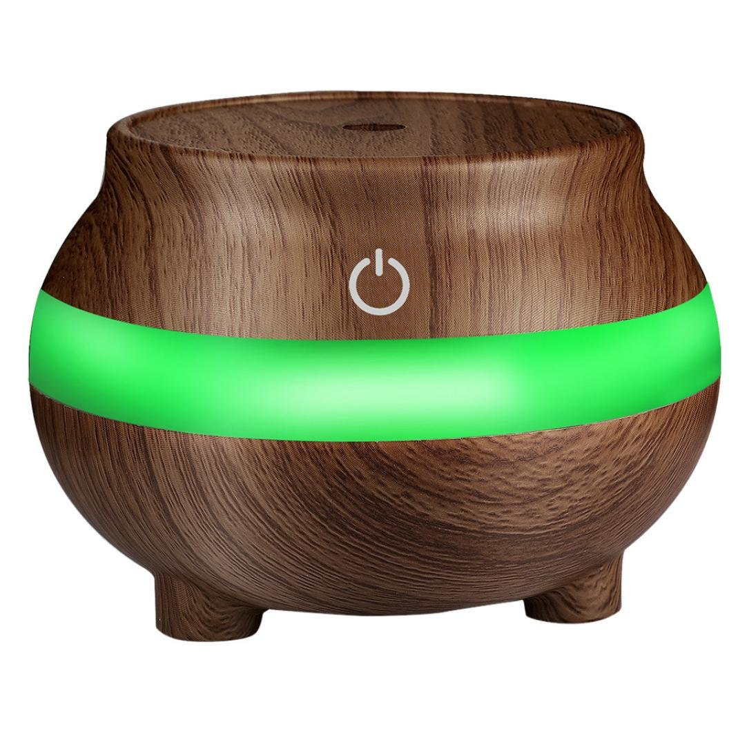 USB Wood Grain Air Aroma Essential Oil Diffuser - Saihui LED Ultrasonic Aroma Portable Aromatherapy Humidifier 300ml 7 Colors Lights Air Humidifiers Purifiers for Baby Room Bedroom (Brown)