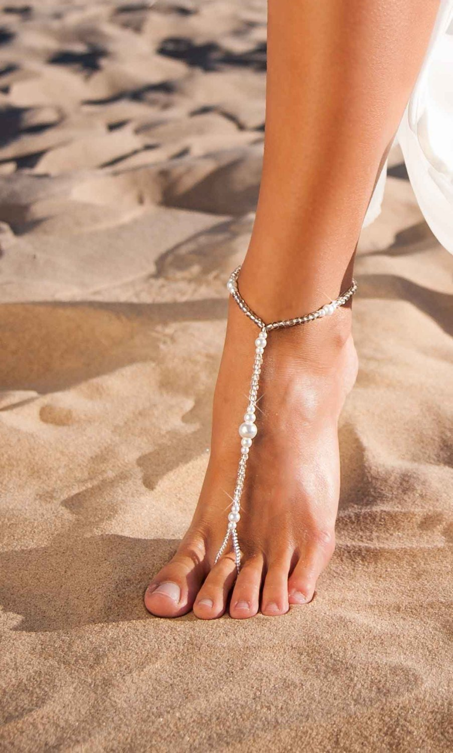 Aria Beach wedding Barefoot sandals, Beaded Barefoot sandals, Pearl foot jewelry, Barefoot Sandles, Bridal accessory, Beach sandals, Bridesmaid gift by BarmineStore