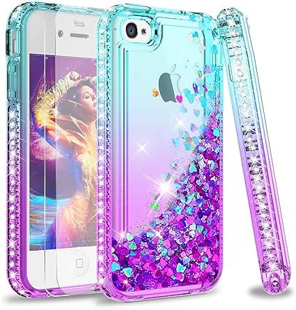 LeYi Coque iPhone 4S, Etui iPhone 4 avec Verre Trempé [Lot de 2], Fille Personnalisé Liquide Paillette Transparente 3D Silicone Gel TPU Antichoc ...