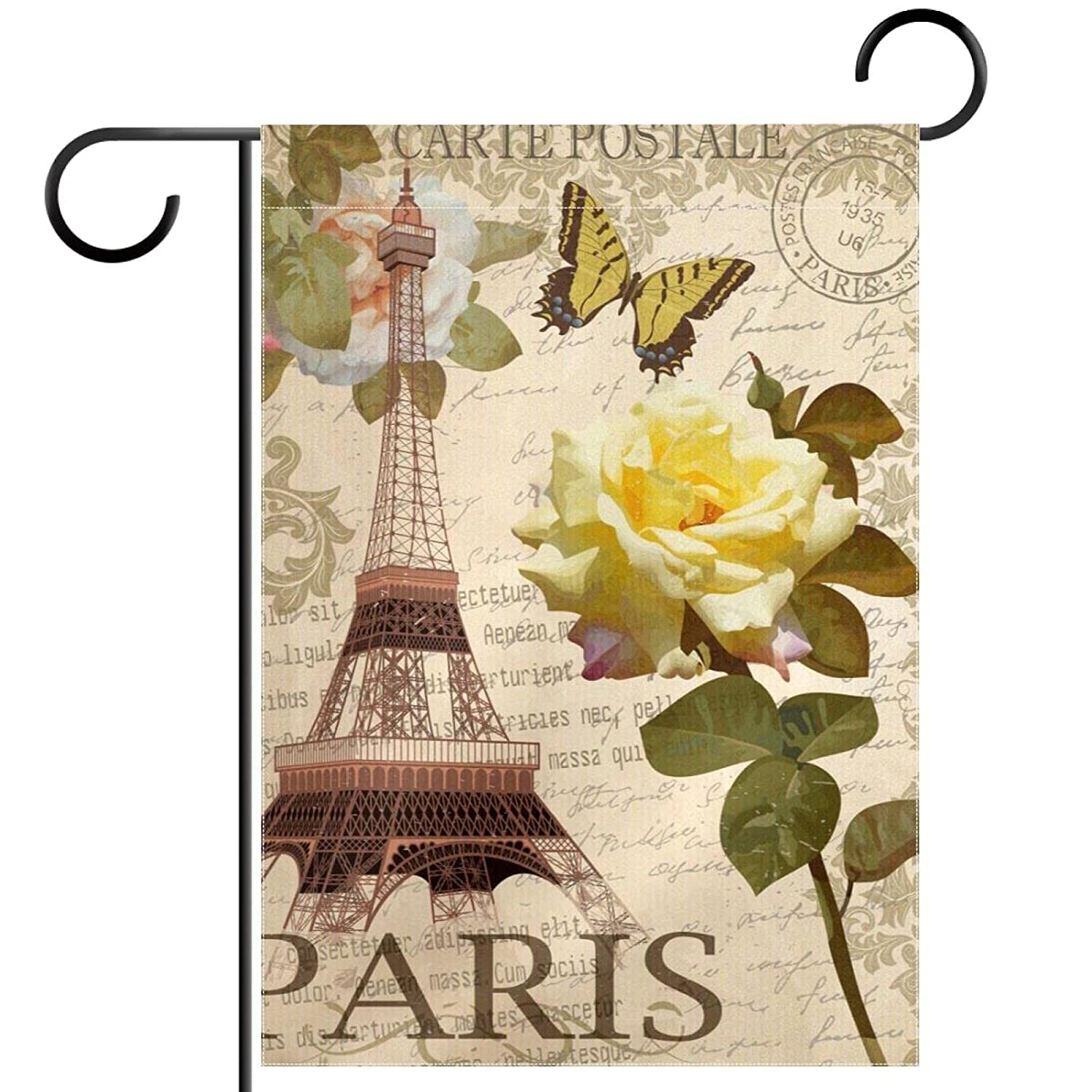 Vintage Eiffel Tower And Roses Garden Flag, Double Sided Garden Outdoor Yard Flags for Summer Decor 28x40 Inch