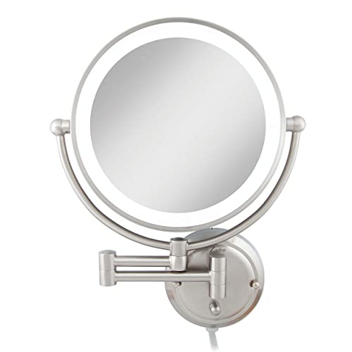 Zadro Extra Large Premium Glamour Dual-Sided 5X/1X Magnification Wall Mount 12-inch Dimmable Bathroom Makeup Mirror