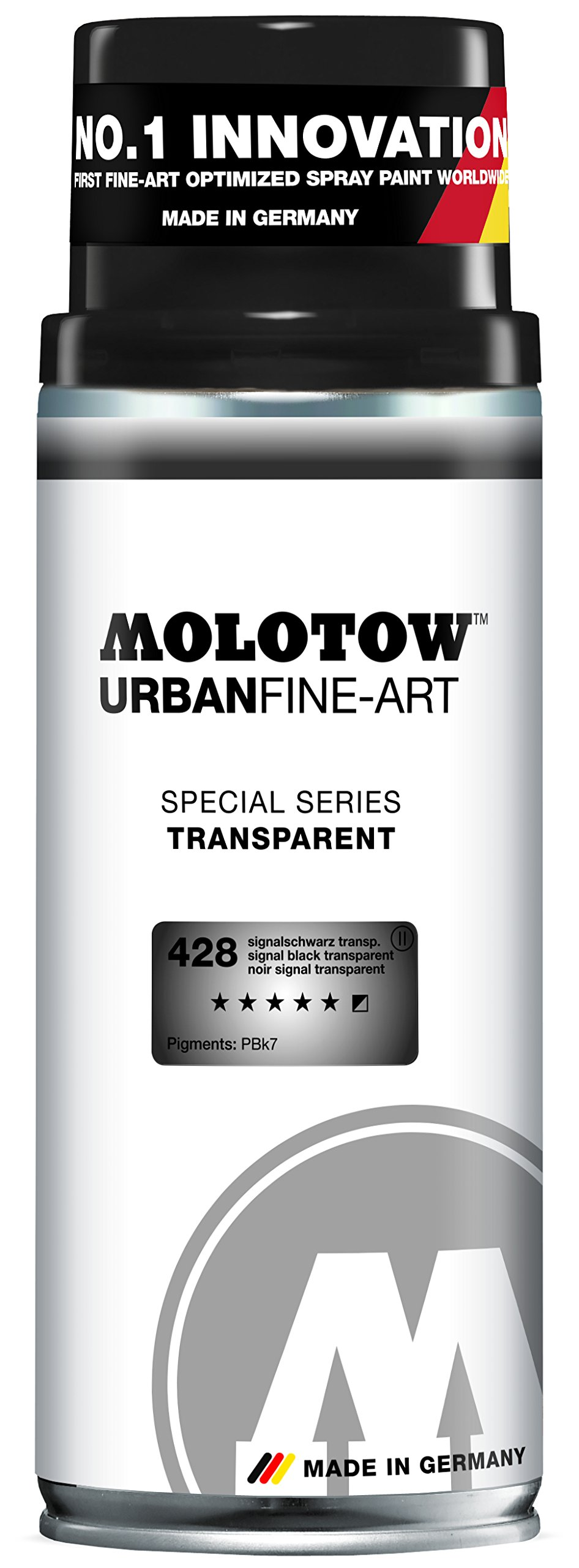 Molotow Urban Fine Art Acrylic Spray Paint, 400ml Can, Transparent Signal Black