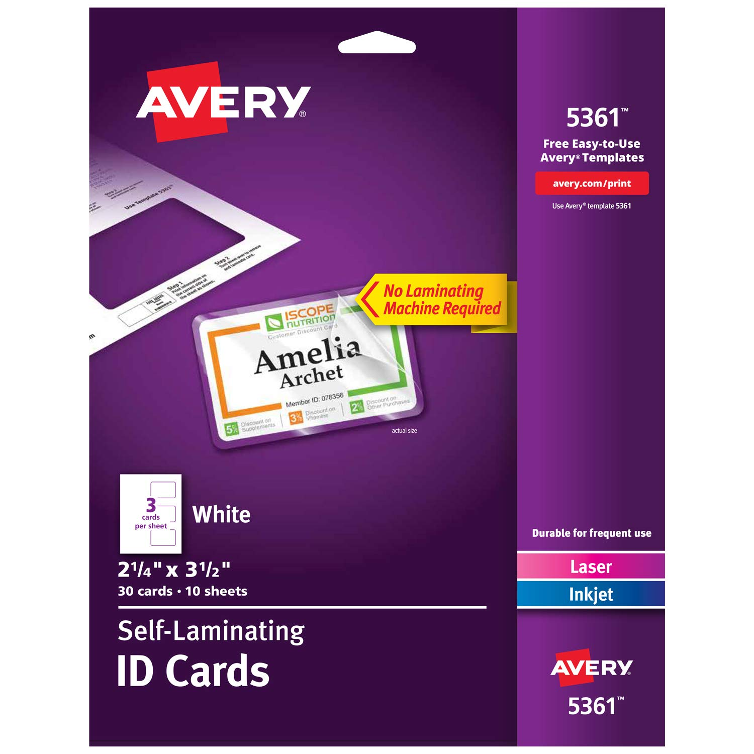 photo regarding Printable Id Cards titled Avery Self Laminating Playing cards, Printable, 2-1/4\