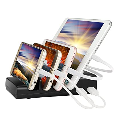 IPUTY Charging Station,Multiple Devices Desktop Charging Station Organizer, 4-Port USB Charging Stand Dock Compatible for Wireless Earphones,iPad ...
