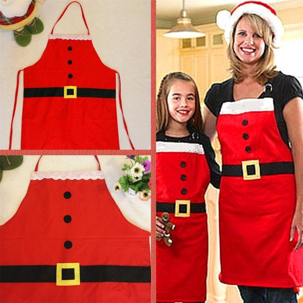 Christmas Apron, Kfnire Classical Adult & Kids Christmas Santa Apron for Party Christmas, Pack of 2