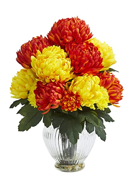 Amazon Artificial Flowers Mum Orange Yellow Arrangement In