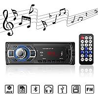 Autoradio Bluetooth autoradio stéréo numérique Radio de Voiture récepteur Bluetooth Mains Libres avec télécommande récepteur USB/TF / AUX Transmission sans Perte pour diverses Voitures - Noir