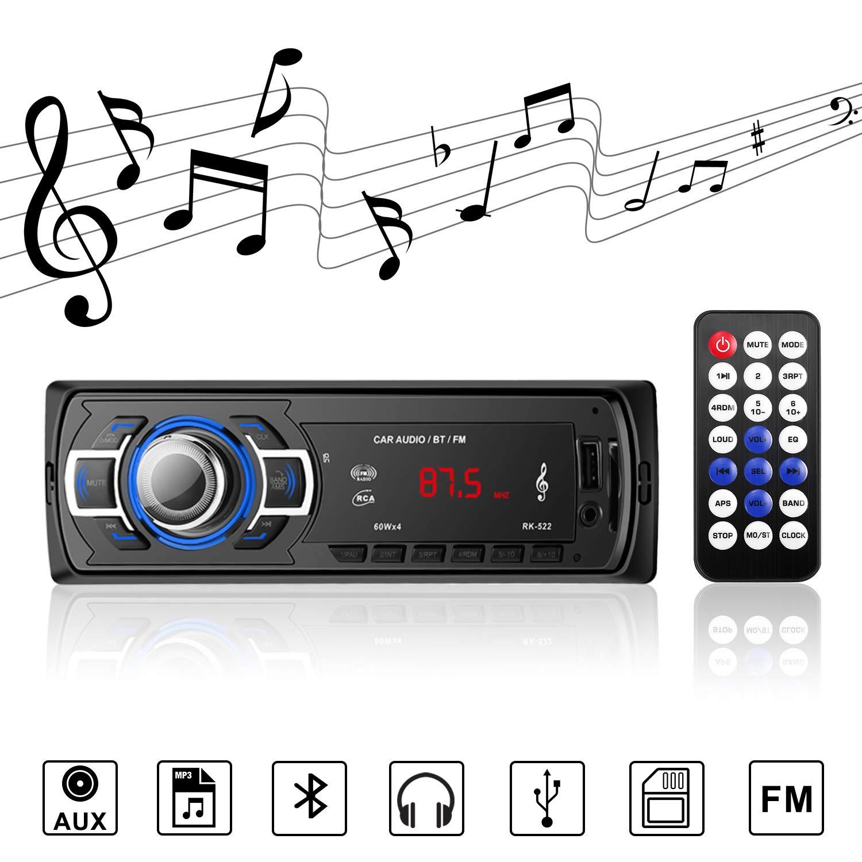 Autoradio Bluetooth Radio Stereo Reproductor de Audio MP3 con Control Remoto Radio FM Soporte de Llamadas Manos Libres, USB / Tarjeta TF / Receptor AUX, para Varios Automó viles y Camiones para Varios Automóviles y Camiones Manakayla