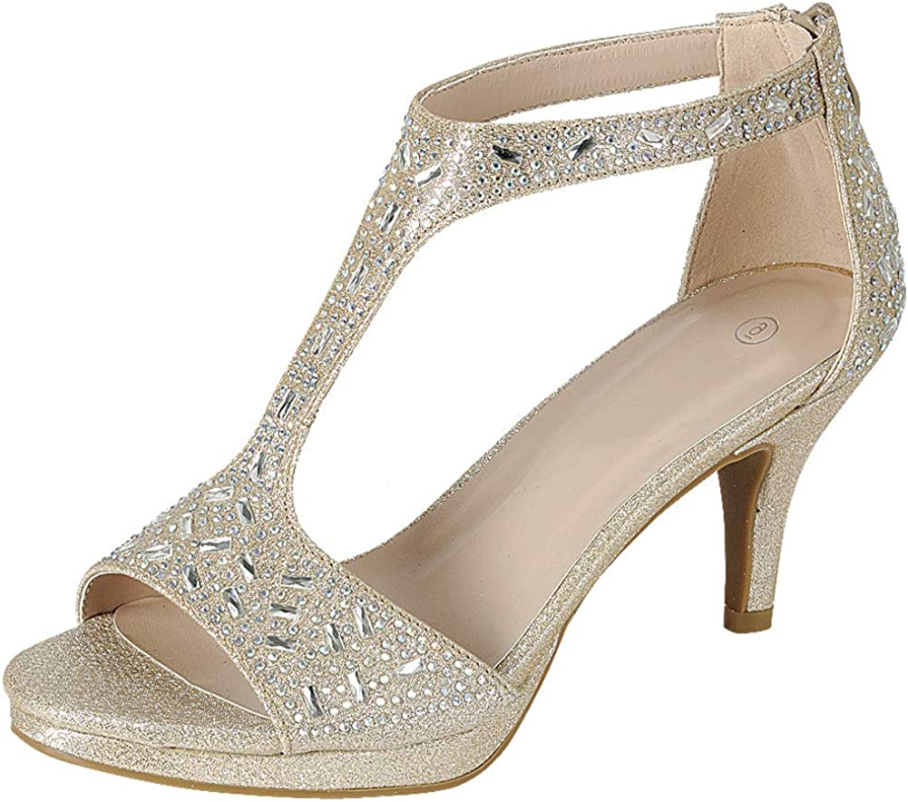 Cambridge Select Women's Open Toe T-Strap Crystal Rhinestone Platform Mid Heel Sandal