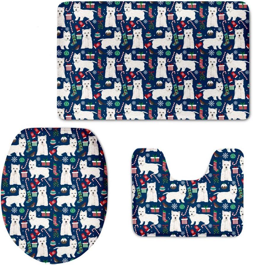Agroupdream Corgi Hund Weihnachten Badematte Set 3 St/ück rutschfeste Gummi-Podest Teppich WC-Sitzbezug WC-Bl/öcke Badezimmer Teppich