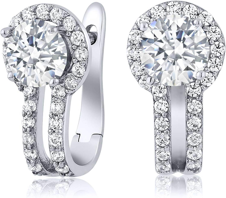Moda Joyería para dama Oval Corte Azul Zafiro Chapado en Oro Blanco Pendientes con Pasador anillo