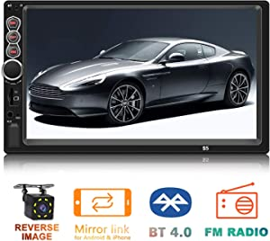 Double Din Car Stereo Upgrade 7 inch Touch Screen Car Radio MP5/4/3 Player FM Radio Video Audio Compatible with Bluetooth Support Rear-View Camera Mirror Link
