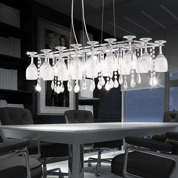 LED Lámpara de techo Decoración Copas de vino y K9 adornos ...