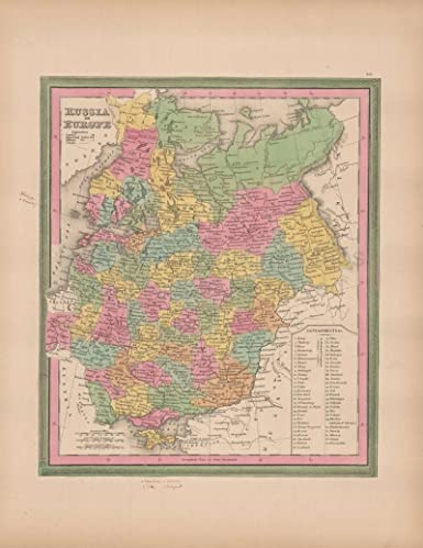 Map Of Russia In Europe.Amazon Com Russia In Europe Vintage Map Original Russian Decor