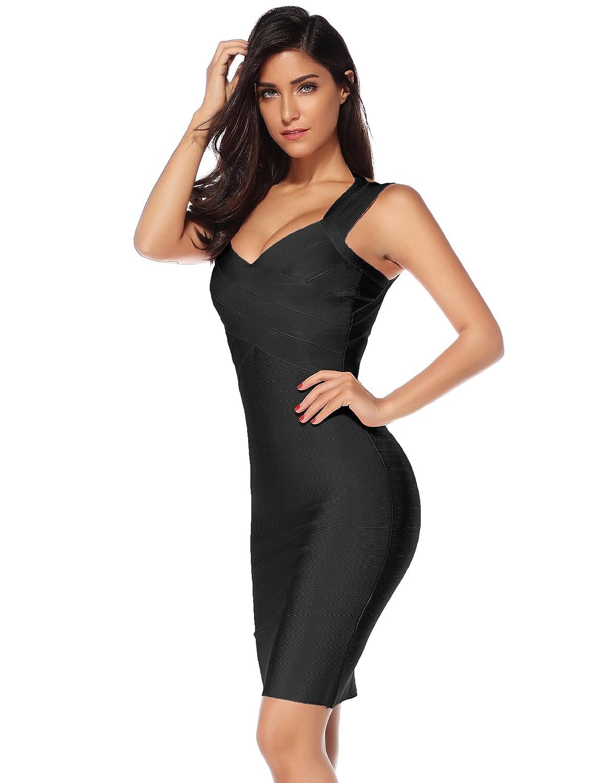 dbf7ab09b51 Amazon.com  Meilun Women s V-Neck Strapless Clubwear Bodycon Bandage Dress   Clothing