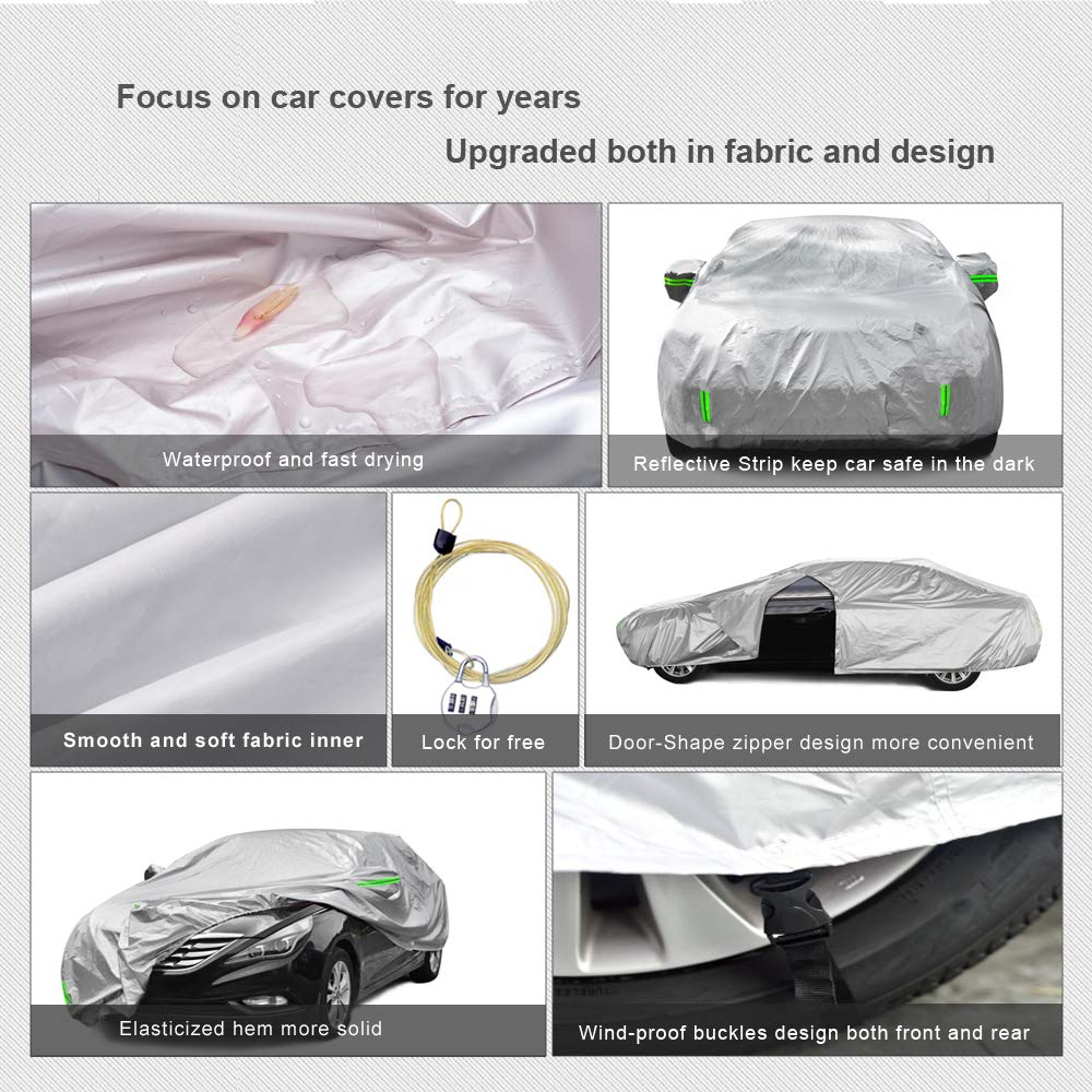 Tecoom Breathable Material Door Shape Zipper Design Waterproof UV-Proof Windproof Car Cover with Storage and Lock for All Weather Indoor Outdoor Fit 160-172 inches Hatchback