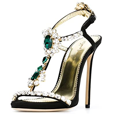 e66bba8084e43 Nancy Jayjii NJPU Women High Heel Sandals T-Straps Rhinestone Stilettos  Open Toe Crystal Dress