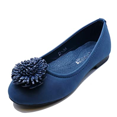 1e47259360 HeelzSoHigh Girls Kids Childrens Navy Slip-On Smart Flat Shoes Dolly  Ballerina Pumps Sizes 11-3: Amazon.co.uk: Shoes & Bags