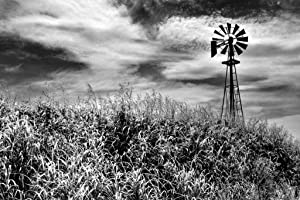 Timeless Windmill Texas Hill Country Rural Scene Photo Photograph Cool Wall Decor Art Print Poster 36x24