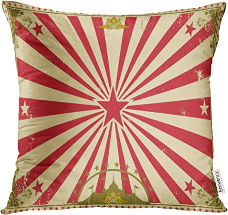 Amazon Com Golee Throw Pillow Cover Carnival Circus Vintage Horizontal For Your Perfect Size For Screen Marquee Cabaret Decorative Pillow Case Home Decor Square 18x18 Inches Pillowcase Home Kitchen