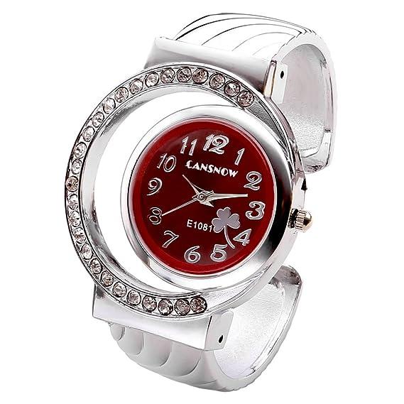 Relojes JSDDE, diamante de imitación Diseño de trébol Flor para mujer de Luna tropezarnos con