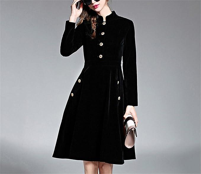 Jongood Elegant Elegant Black Velvet Dress Winter Dresses Women