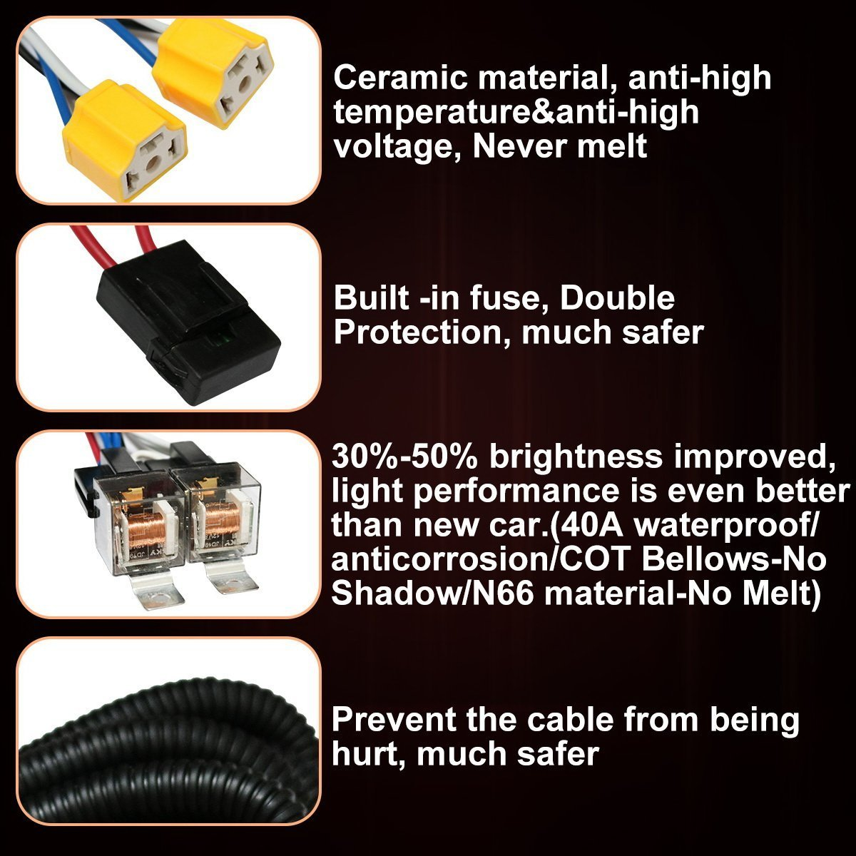 1set 2 Headlight Harness H4 Headlight Relay Harness H6054 H4 Relay
