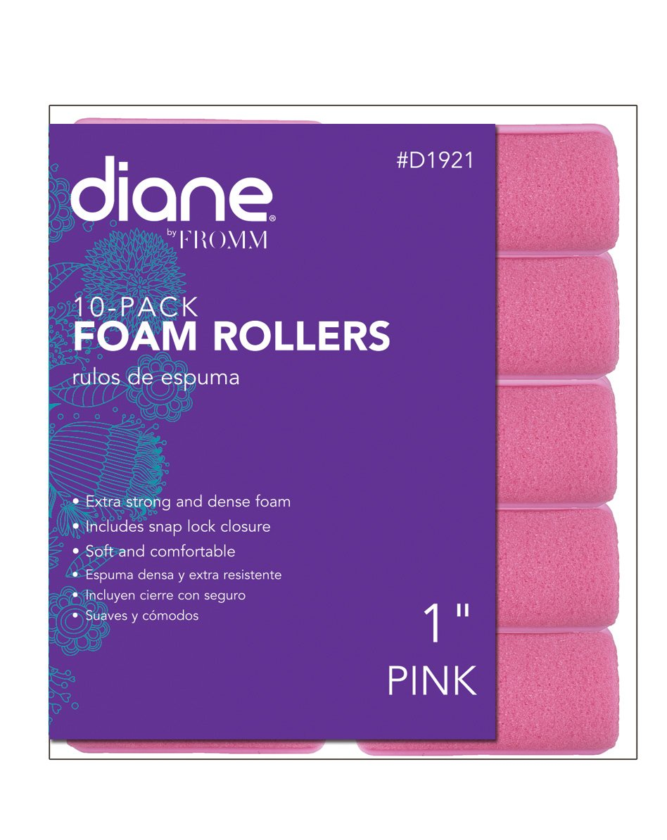 Fromm International Diane Foam Rollers, Pink, 1-Inch, 10 Per Bag D1921