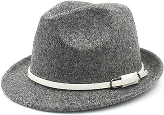 Shuo lan hu wai New Cappello da Donna in Lana Fedora con Cinturino alla Moda per l'inverno Caldo Elegante Lady Trilby Homburg Church Derby Jazz Caps (Colore : Rosso, Dimensione : 57-58cm)