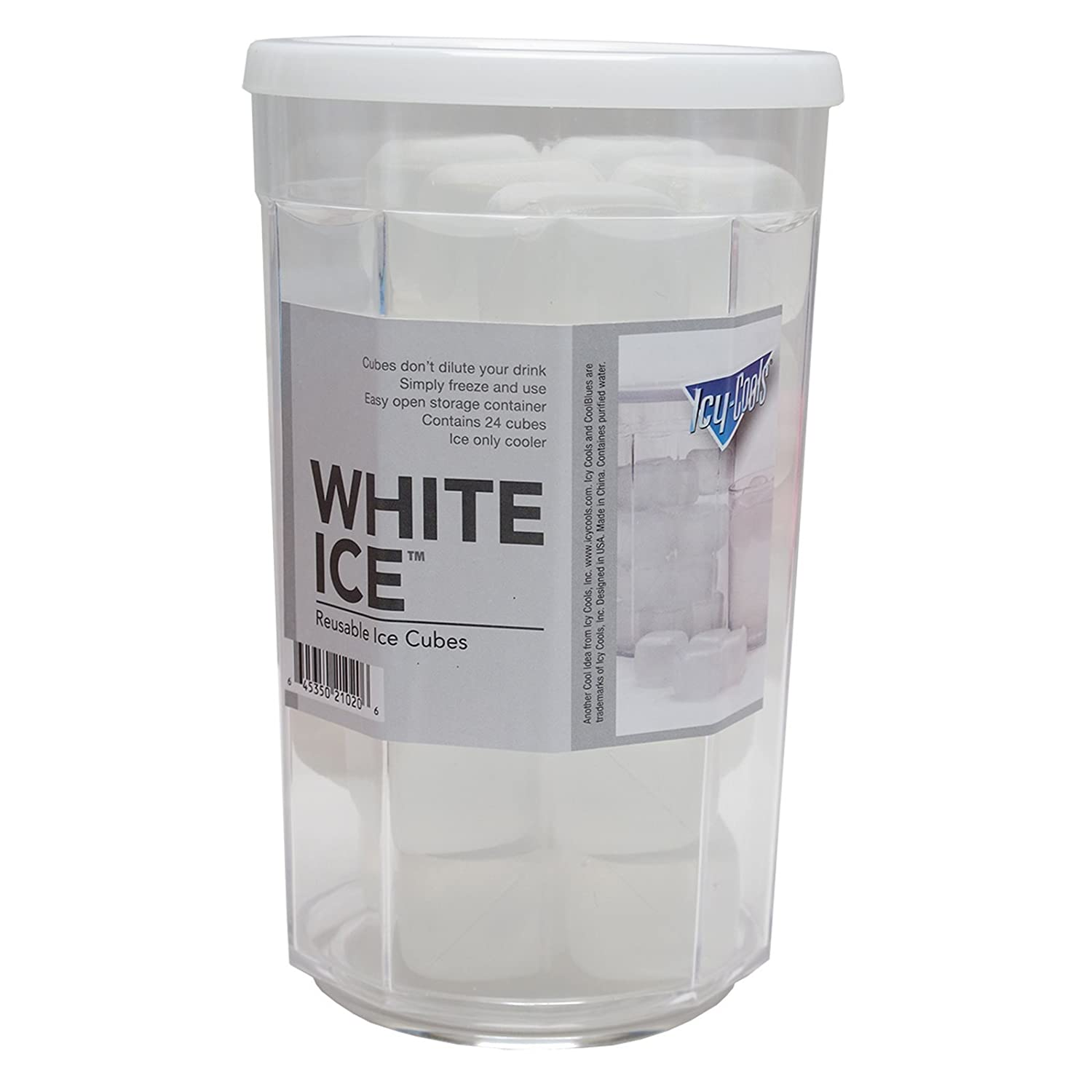 Amazon.com: White Ice (TM) Reusable Ice Cubes for your Drinks 24 ...