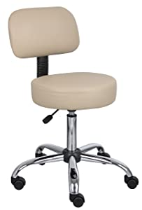 Boss Office Products B245-BG Be Well Medical Spa Stool with Back in Beige