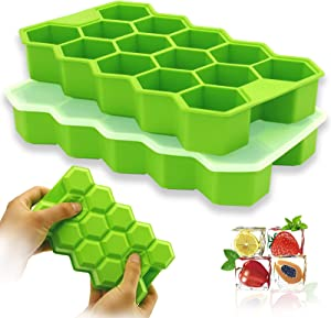 Silicone Ice Cube Tray with Lid for Freezer, 2PCS Large Reusable Ice Cube Trays Mold 28 ice Trays for Bars Kitchens and Holiday Parties for Chilled Drinks or Food