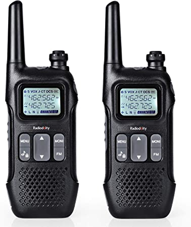 Radioddity FS-T1 FRS Two-Way Radio, License-Free Walkie Talkies, NOAA Weather Broadcast, 22 Channels 154 Privacy Codes with FM, Earpiece, USB Charging, 2 Pack