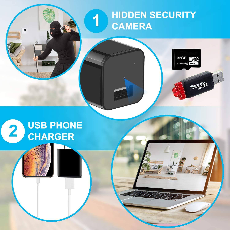 Hidden Camera – HD 1080P – Premium Pack – Motion Detection – USB Hidden Camera – Surveillance Camera – Mini Spy Camera – Nanny Camera – Best Spy Camera Charger – Hidden Camera Charger – Spy Camera