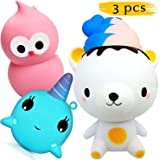 3 PCS Animal Cute Squishies Slow Rising Jumbo - Whale Squishies Bear Squishy Bird Kawaii Squishy Toys Pack Stress Relief Cream Scented Soft Squeeze Gift Package For Boys Kids And Girls