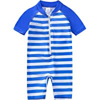 YIRONGWANG Baby Toddler Boys Girls Swimsuit One Piece Swimwear Bathing Suit Rash Guard with Zipper Short Sleeve 3-24…