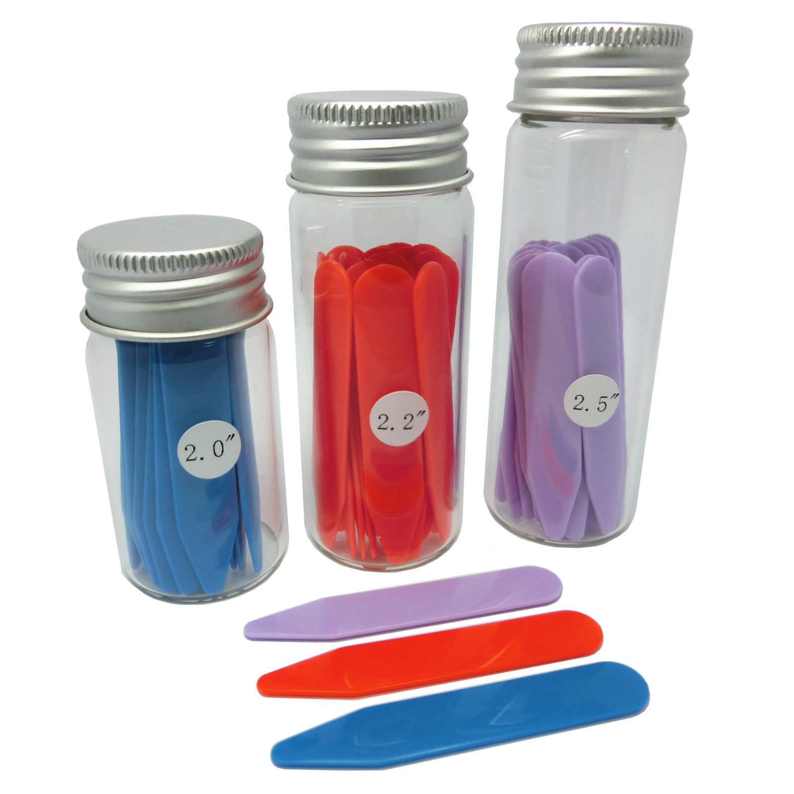 Shang Zun 48 Pcs Plastic Collar Stays in 3 Glass Bottles, 3 Colors 3 Sizes