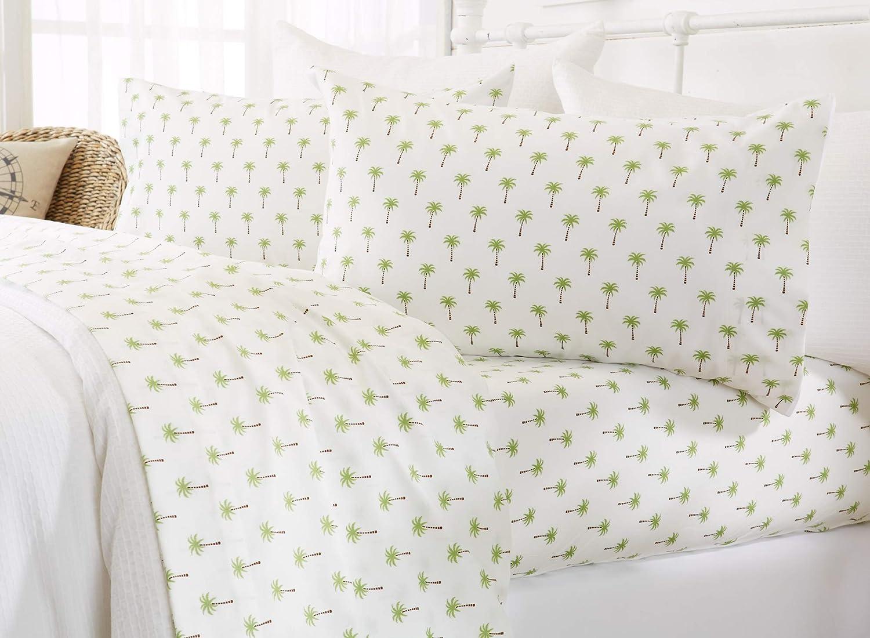 Great Bay Home Printed Coastal Microfiber Bed Sheets. Wrinkle Free, Deep Pockets, Beach Theme Sheet Set. Newport Collection (Twin, Palm Tree)